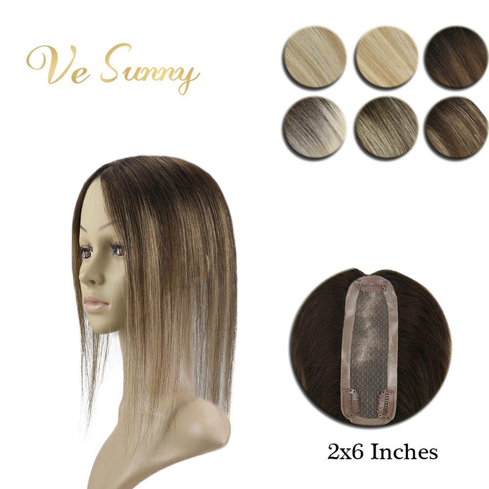 VeSunny تاج هيربيسي أحادية قاعدة توبر شعر بشري حقيقي شعر مستعار يدوية الصنع مع مقاطع 12x6 سم Balayage تسليط الضوء على اللون