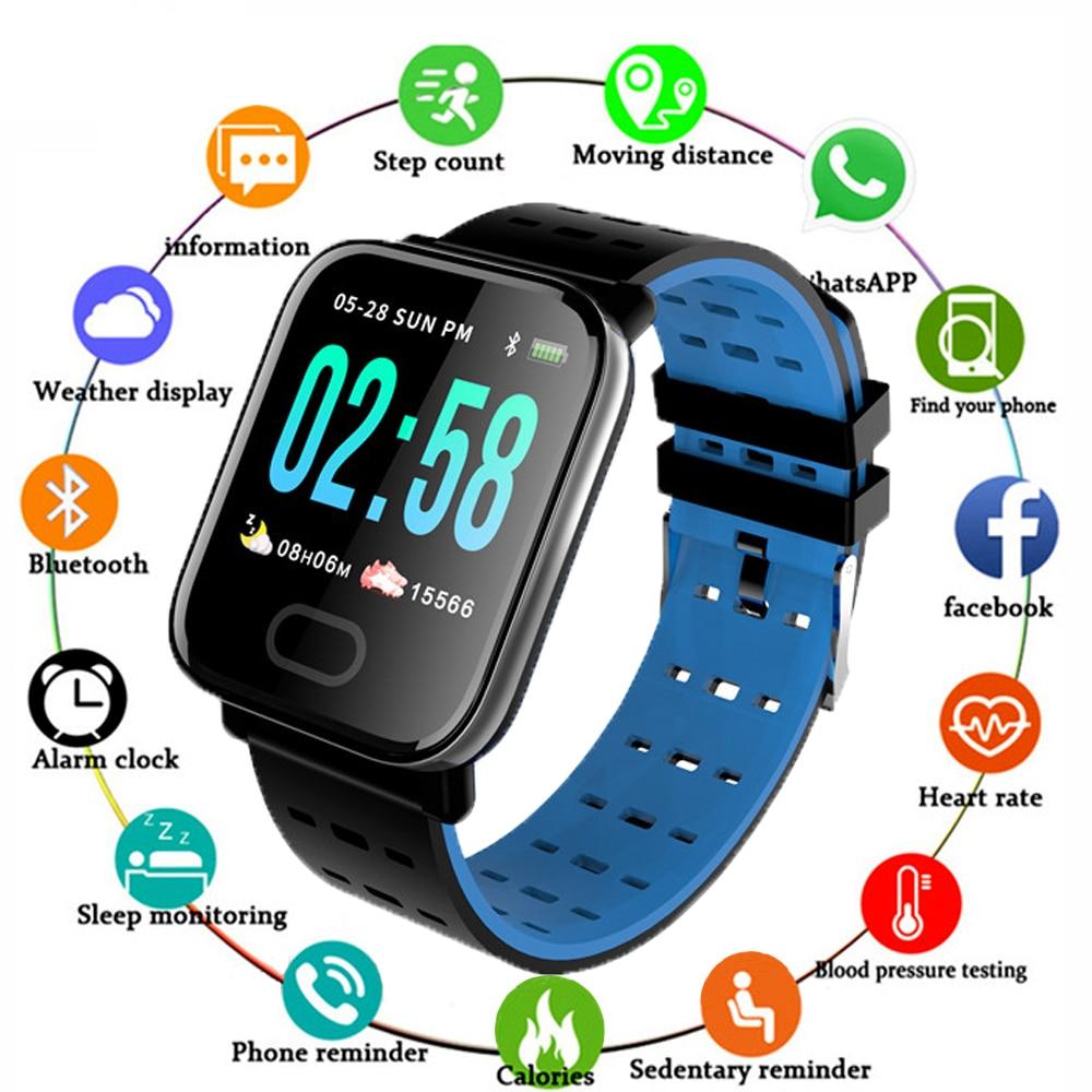 Reloj inteligente A6 para IOS y Android, reloj inteligente deportivo con control del ritmo cardíaco y de la presión sanguínea, contador de pasos y Bluetooth