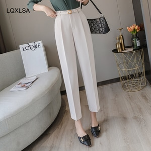 New 2021 Winter Spring Women Pants High Waist Loose Formal Elegant Office Lady Ankle-Length With Belt Pants P7223
