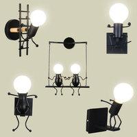 Настенная люстра, креативный Железный светодиодный светильник, прикроватное бра для детской, детской, гостиной, столовой
