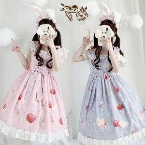 Palace sweet princess lolita strap dress vintage bowknot high waist printing victorian dress kawaii girl gothic lolita cos loli