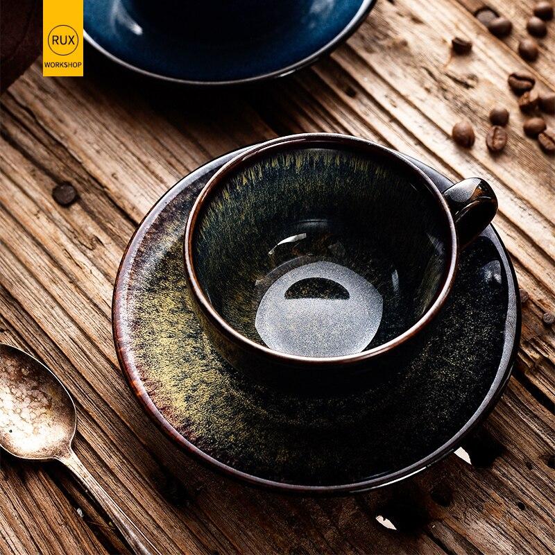 RUX WORKSHOP 220 мл тонкая кофейная чашка из костяного фарфора и блюдце смешной модный дизайн кофейная кружка в японском стиле кофейная чашка эспрессо