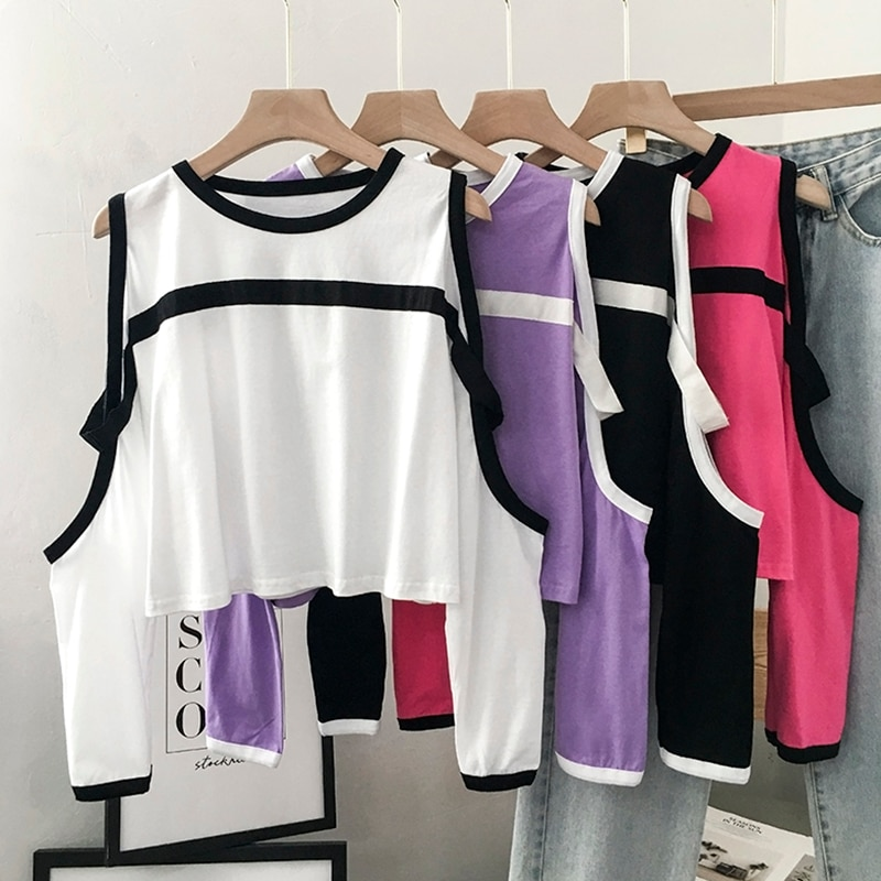 Off-the-Shoulder Younger T-shirt Women's New Fashionable Korean Style Spring and Autumn Clothes Tops