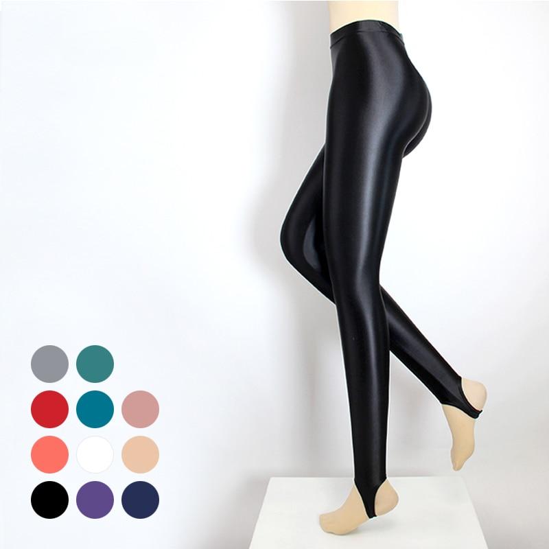 DROZENO Thin women's stretch oil shiny gloss leggings sports pants leggings step-on-foot fitness pants