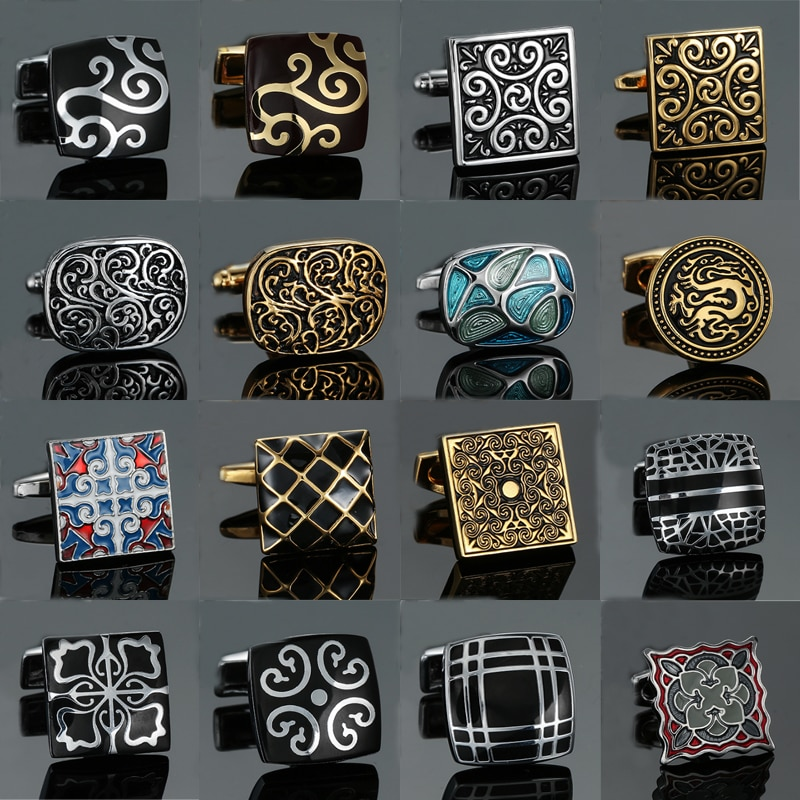 18 style Mix Hotsale Cufflinks Classical Gold silvery blue retro pattern cuff links mans Suit accessories Wedding business gift