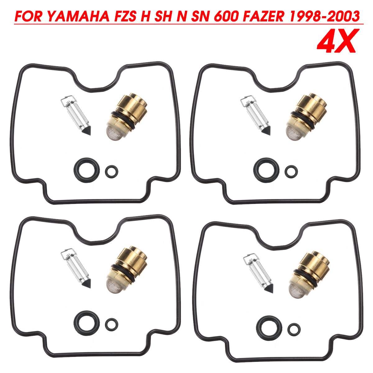 Kit de reparación de carburador de motocicleta Autoleader 4Set herramientas de reconstrucción de chorro de aguja flotante para Yamaha FZS H SH N GN 600 Fazer 1998-2003