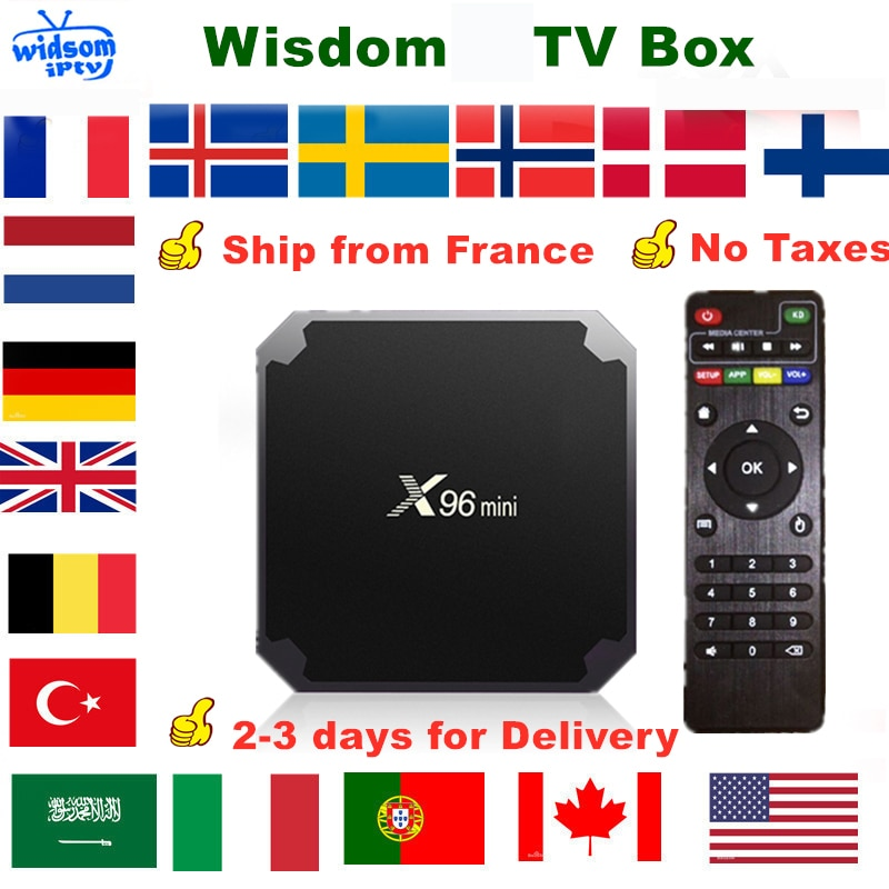 X96 Mini Android TV Box Francia España alemán Portugal UK árabe holandés Suecia Polonia Dispositivo de tv inteligente no incluye solo canales
