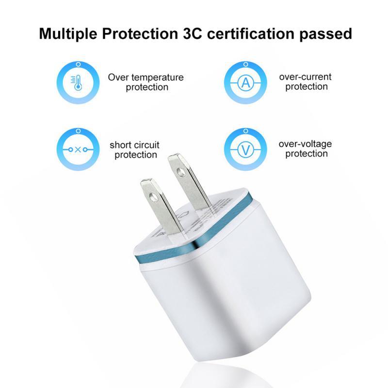 Универсальное зарядное устройство с двумя USB-портами, 2,1 А, быстрая зарядка, вилка стандарта ЕС/США, портативный настенный мобильный телефон, зарядное устройство для IPhone, Huawei-4