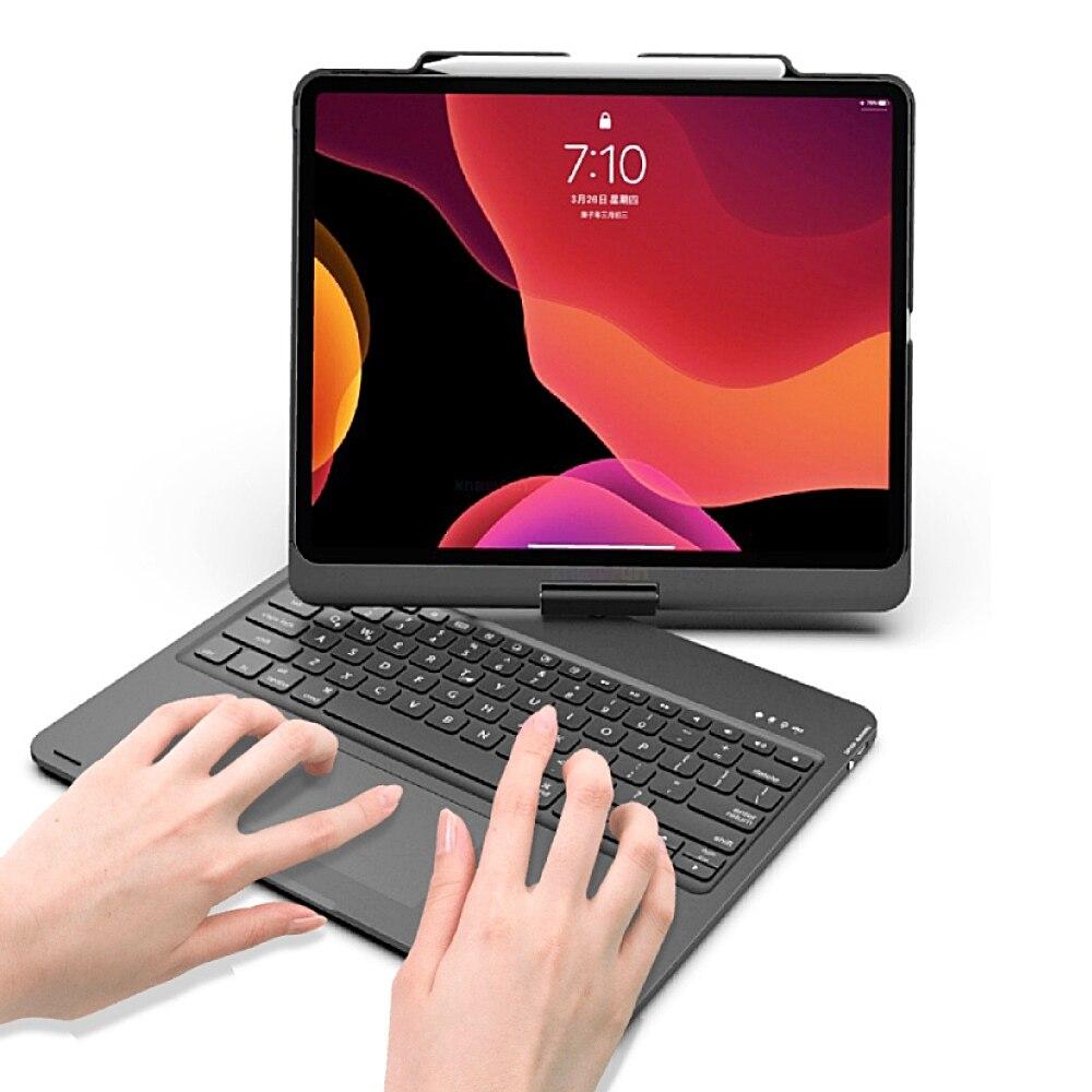 حافظة للوحة مفاتيح بلوتوث لاسلكية قابلة للتدوير لهاتف أبل آي باد برو 12.9 بوصة 2020 A2233 A2229 A2232 A2069 غطاء حماية لوحة اللمس