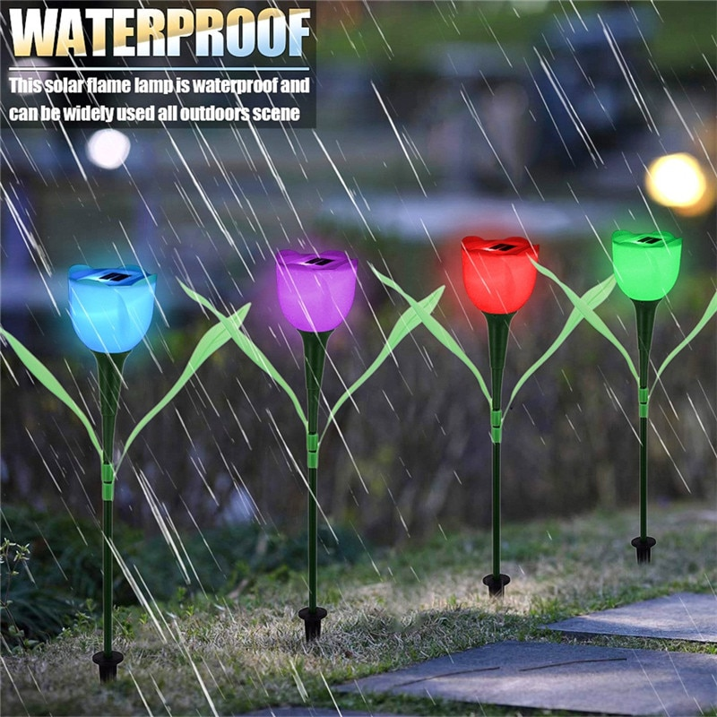 Gran oferta de jardín al aire libre LED luz alimentada por energía Solar paisaje casa impermeable Tulip flor de la noche patio, césped lámpara