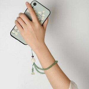 Image 3 - Оригинальный натуральный зеленый Клубника Кристалл короткий телефон ремешки наручный ремешок подвеска падение сопротивление съемный ключевой ремень