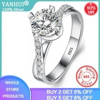 yanhui with certificate silver 925 ring torsion intersect inlay 1ct lab diamond rings for women wedding band fine jewelry gift