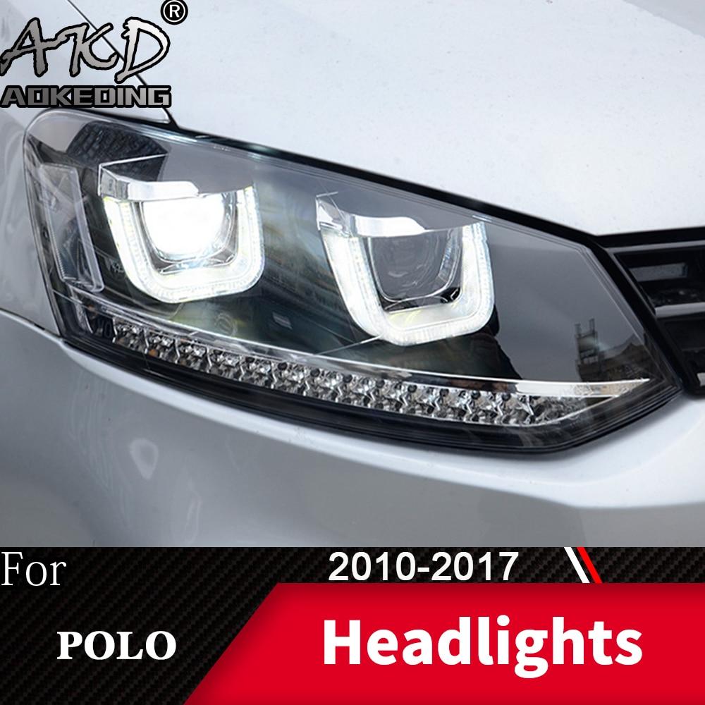 Faro delantero para coche VW POLO 2010-2017, faros antiniebla, luces diurnas H7 DRL, bombilla LED Bi Xenon, accesorio para coche