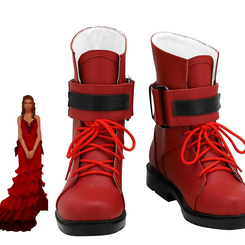 FF 7 الخيال النهائي Aerith غاينسبورو تأثيري أحذية الكبار الأحمر الأحذية هالوين كرنفال الدعائم