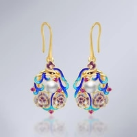 coeufuedy natural fresh water pearl 925 sterling silver drop earrings ethnic blue earrings for women party gift fine earrings