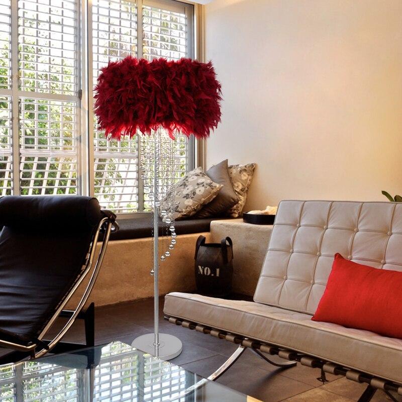 Lámpara de pie bombilla LED opcional sofá mesilla de noche luz pluma de pie Luz de suelo lámpara blanco grande azul Rosa rojo E27