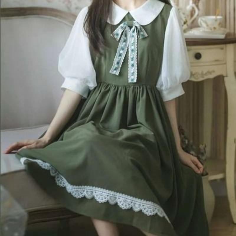 HOUZHOU Green Dress Kawaii Lolita Harajuku Dress Women Vintage Sweet Cute Streetwear Chiffon Puff Sleeve Summer Outfits