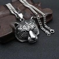 mens fashion punk tiger head pendant necklace jewelry accessories