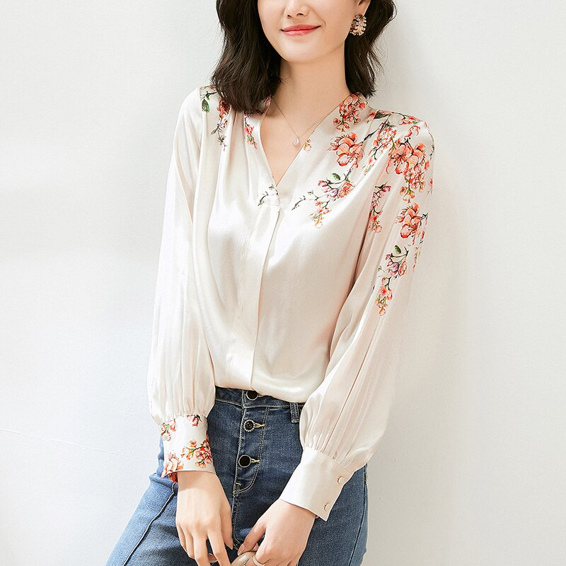 Spring Autumn Natural Real Silk Women's Satin Blouse Tops Elegant V-Neck Long Sleeve Blouses Office Lady Floral Print Shirt