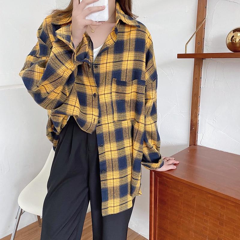 Shirts Women Kawaii Simple Casual Plaid Loose Korean Style Daily All-match Harajuku Cute Student Womens Clothing Fashion Vintage