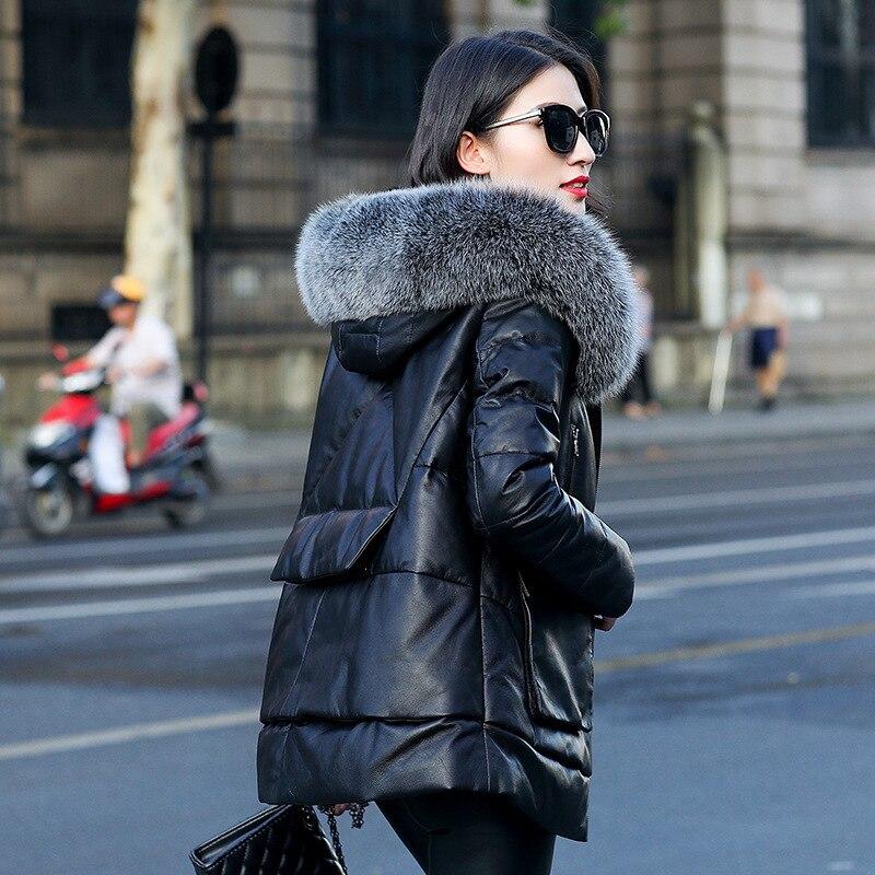 Chaqueta de cuero genuino para mujer piel de zorro con capucha ropa de invierno piel de oveja Real abrigo caliente chaquetas Veste Femme ZM-069 dj3134