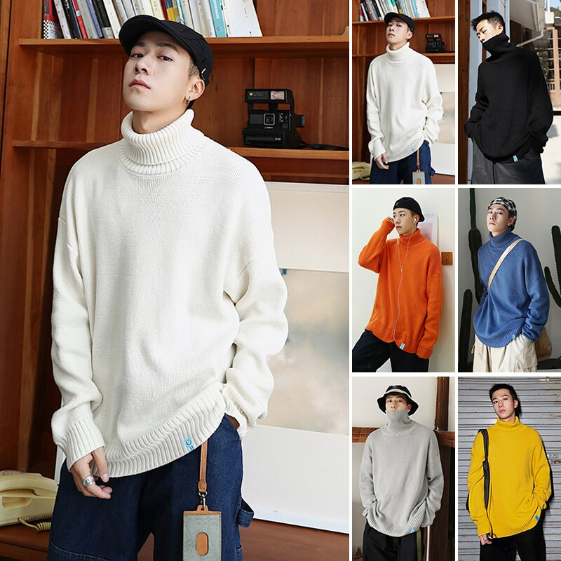 Mens 7 Colors Turtleneck Sweaters for Korean Clothing Japan Harajuku Fashion Knit Sweater Jumper Teens Loose Pullover Streetwear