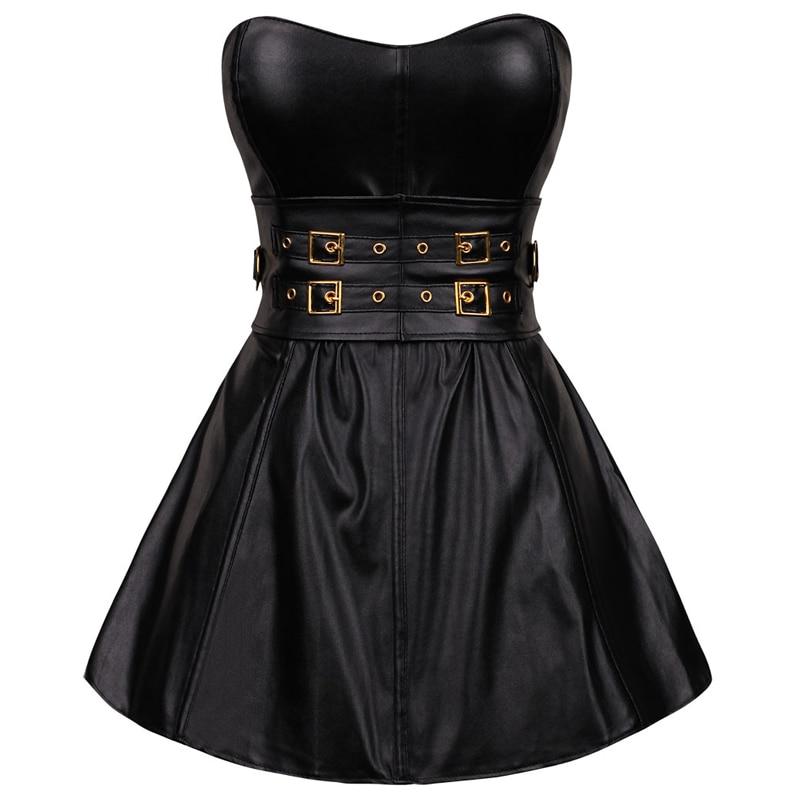 Estilo de moda Lencería exótica Gotico Korset mujeres vestido con corsé de cuero Top Steampunk mujeres Bustier Sexy negro cremallera