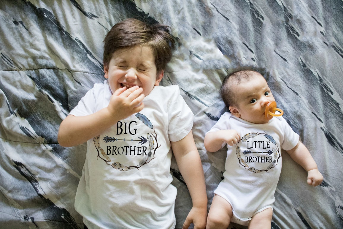 9 Designs 1pc Big/little Brother T-Shirts Dinosaur/truck Cartoon Print Baby Romper Children T-shirts