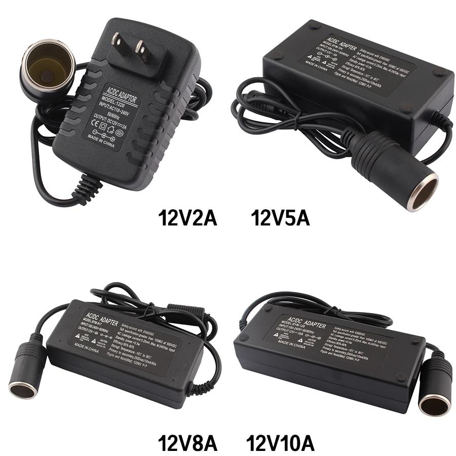 Adaptateur électrique prise ue 12V 5A   Allume-cigare pour voiture, 120W DC 110V 220V à 12V 2A 5A 8A 10A, convertisseur invert 220V