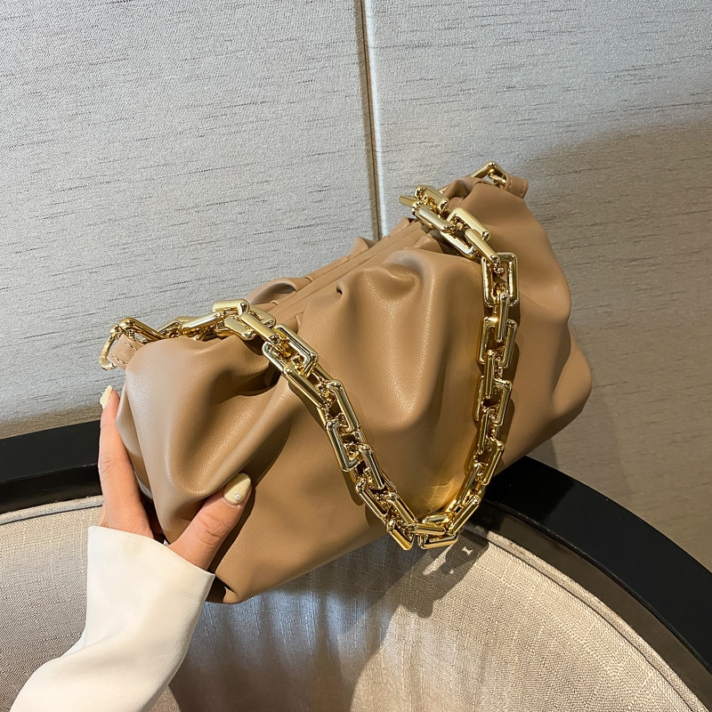 Elegant Pleated Dumpling Shoulder Women's Handbag Luxury Designer Soft Leather Tote Bags Lady Thick Gold Chain Clutch Cloud Bag