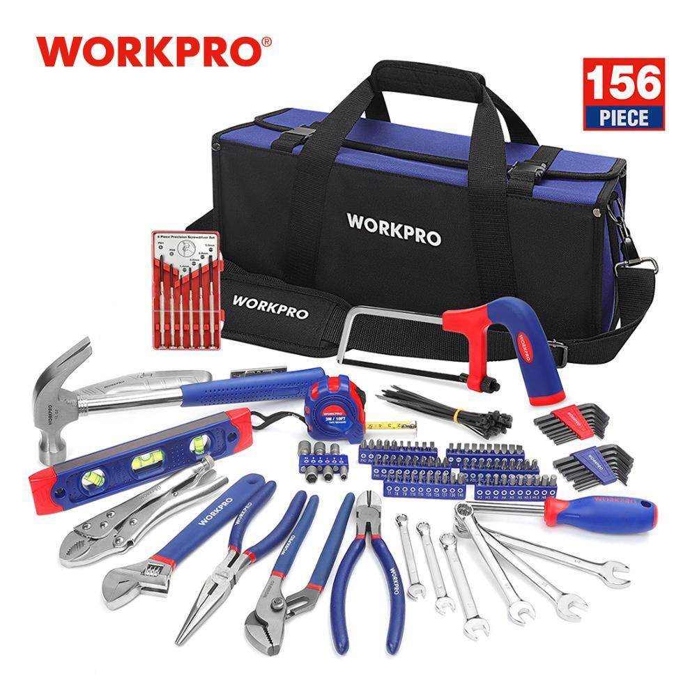 Juego de herramientas de reparación para el hogar WORKPRO 156PC kit de herramientas con bolsa de herramientas martillo destornillador alicates llave inglesa