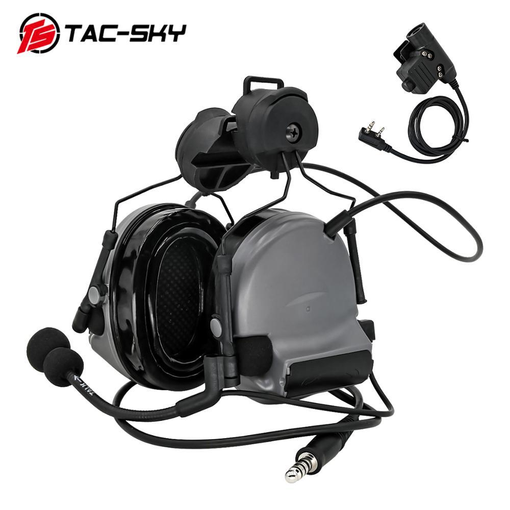 TAC-SKY COMTAC II helmet mounted version hunting headphones noise reduction military shooting headset +tactical PTT U94 PTT gray