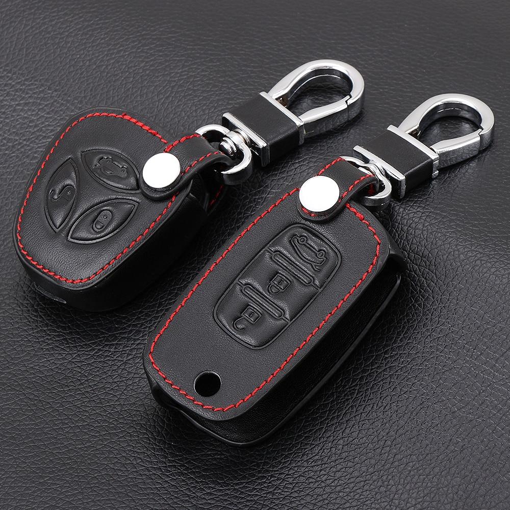 Funda de cuero plegable para llave de coche para LADA Sedan Largus Kalina Granta Vesta x-ray XRay cubierta de mando de llave a distancia Set de protección
