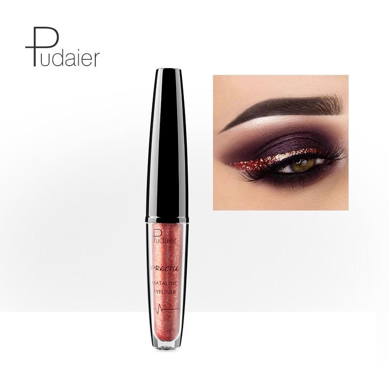 Pudaier 16 colores Delineador de ojos líquido Delineador de ojos metálico lápiz maquillaje impermeable brillo mate desnudo Delineador cosméticos