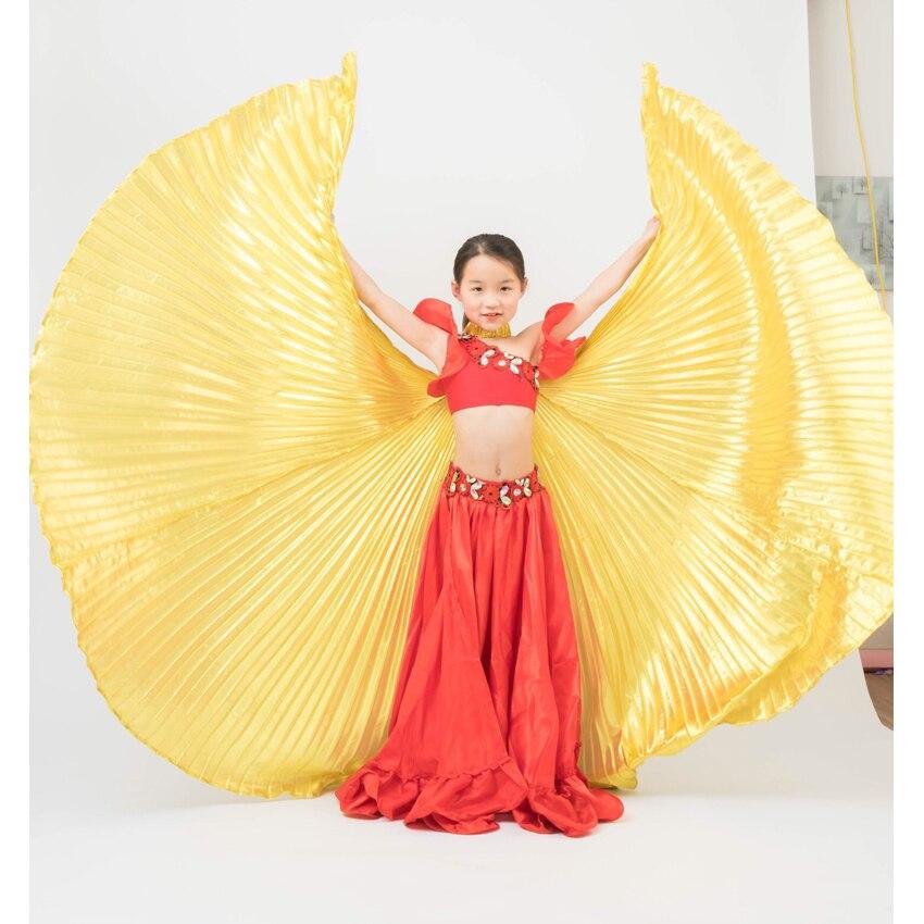 Kinder Gypsy Mädchen Bauchtanz Flügel Plus Größe Glänzende Solide Schmetterling Flügel mit Sticks Orientalischen Isis Bauch Leistung Requisiten