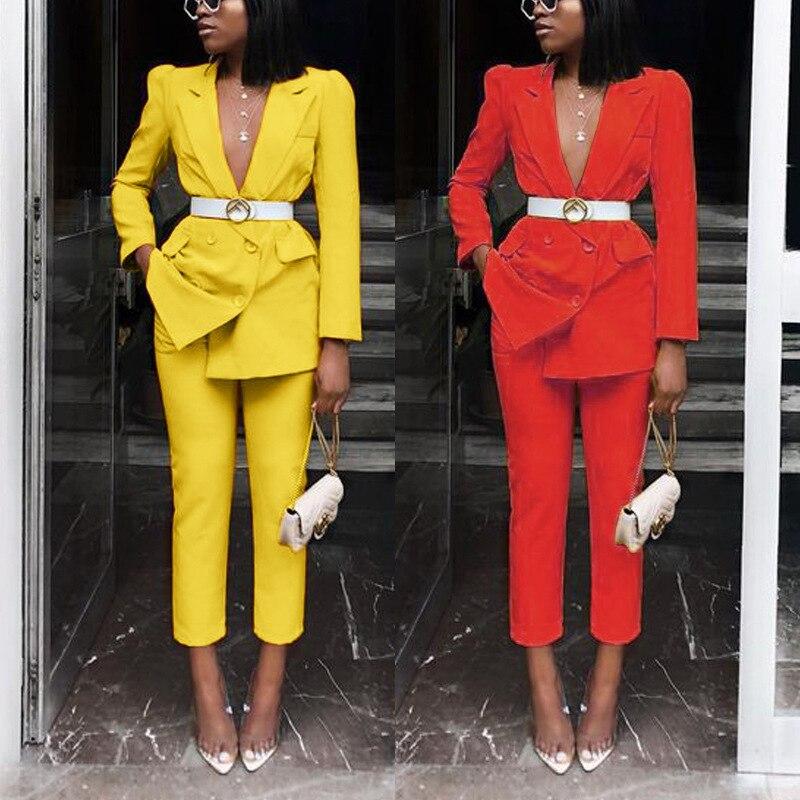 النساء الملابس اثنين من قطعة مجموعة المدرج مثير الأحمر 2 قطعة مجموعة دعوى سترة و السراويل طويلة الأكمام حزب تتسابق