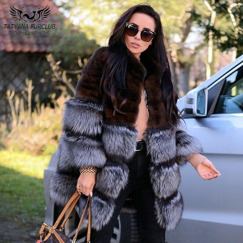Women Winter New Real Natural Mink Fur Coat Splicing Silver Fox Botton Fashion Whole Skin Jacket 80cm Long