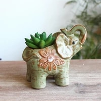 ceramic flower pot elephant shape flower pot with drainage animal sculpture crafts decoration garden micro view potted
