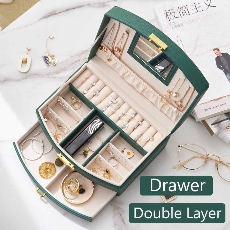 Large Capacity Jewelry Storage Box Organizer for Girl Double Layer Jewelry Organizer Boxes Portable Jewelry Storage Boxes