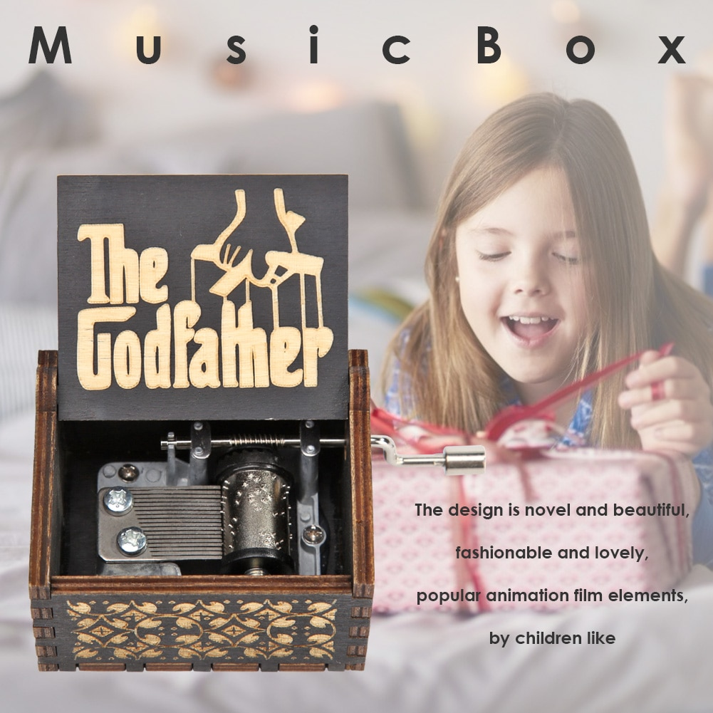Hot Sale Wood Manual Exquisite Music Box Retro Hand Carved for Kids Birthday Presents Home Ornament