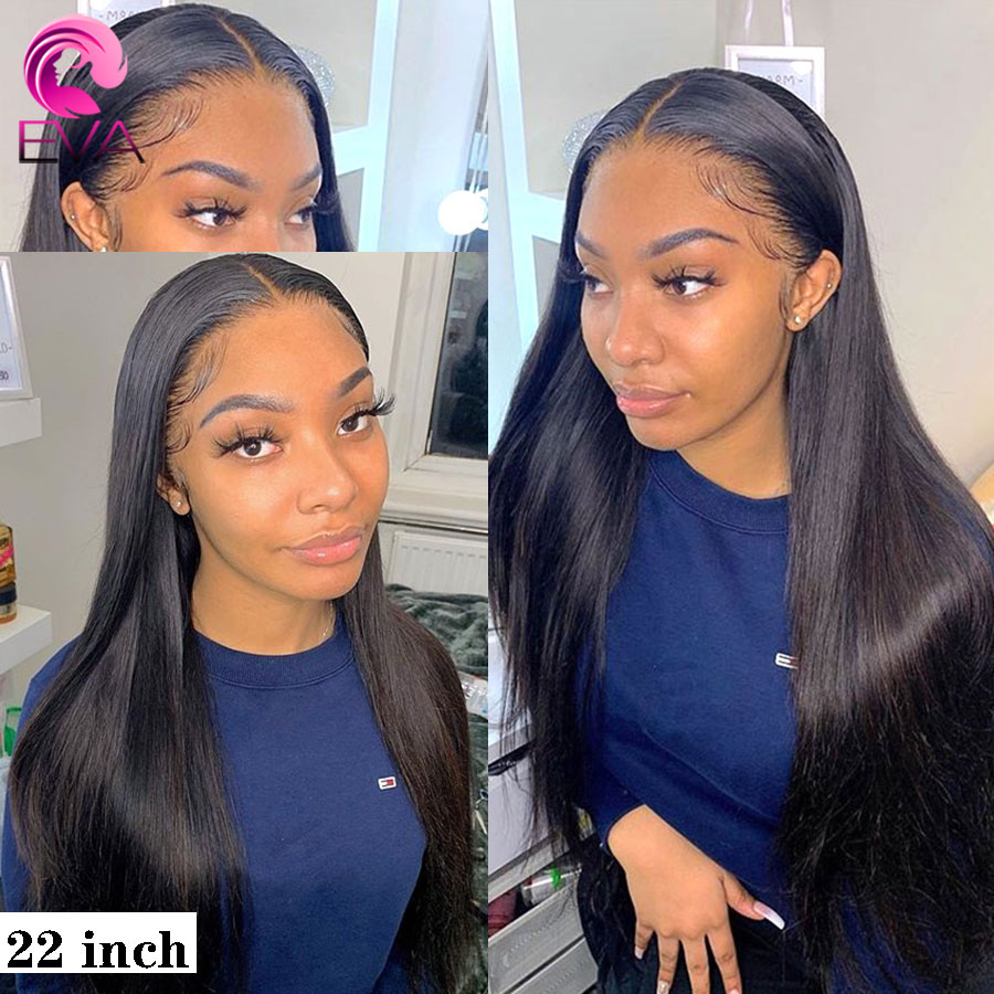 Pelo de Eva, cuero cabelludo Falso 13x6, pelucas de cabello humano con encaje frontal pre-arrancadas con pelo de bebé para mujeres negras, pelucas de cabello brasileño Remy