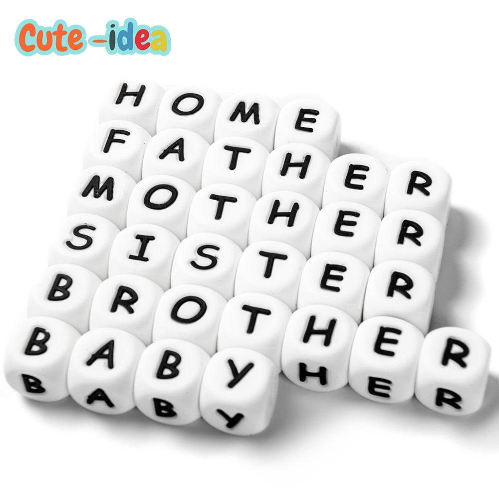 Cute-idea 500pcs 12mm silicone Alphabet English Letters Beads Food Grade silicone beads For DIY Baby Teething Necklace Toy