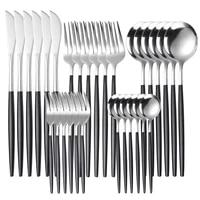 30pcs gold dinnerware set stainless steel tableware steak knife fork coffee spoon teaspoon bright light flatware dishwasher safe
