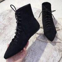 small booties female flat heels pointed ankle boots women plush cowboy knight botines winter cross tied nubuck velvet snow botas