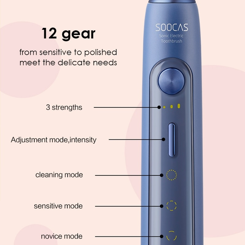 SOOCAS X5 electric toothbrush ultrasonic toothbrush upgrade adult rechargeable 12 cleaning modes with brush head enlarge