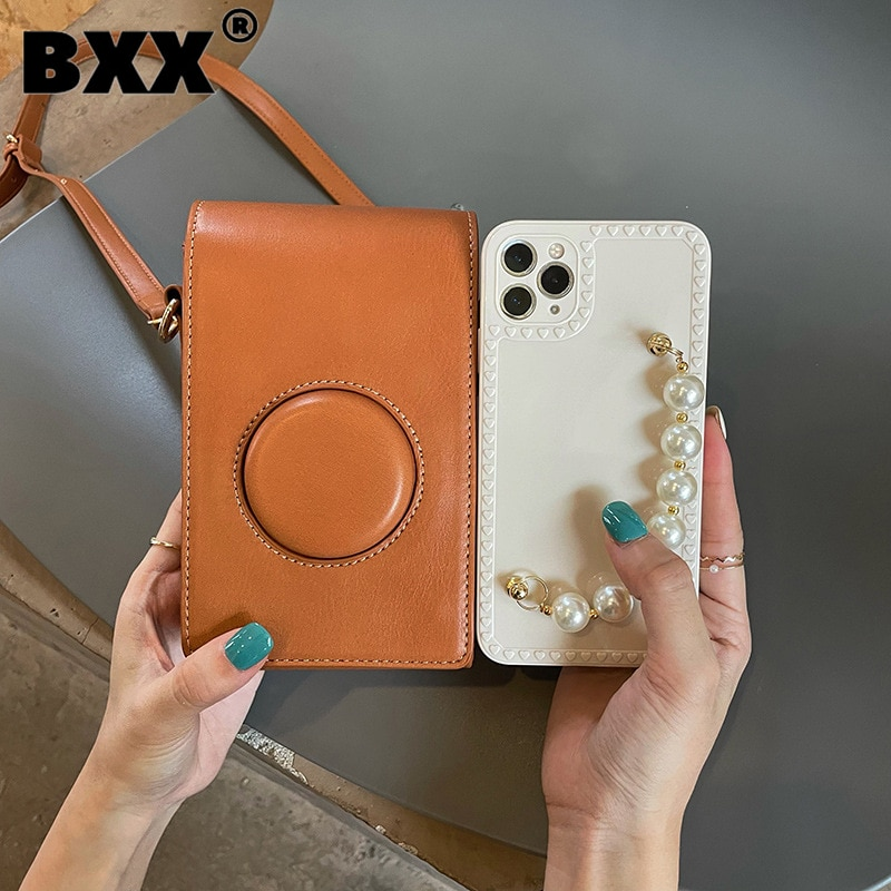 [BXX] Woman New Cute Literary Retro Camera Phone Bag mini PU Leather All-match Crossbody Shoulder Bag Fashion Tide 2021 GF0335