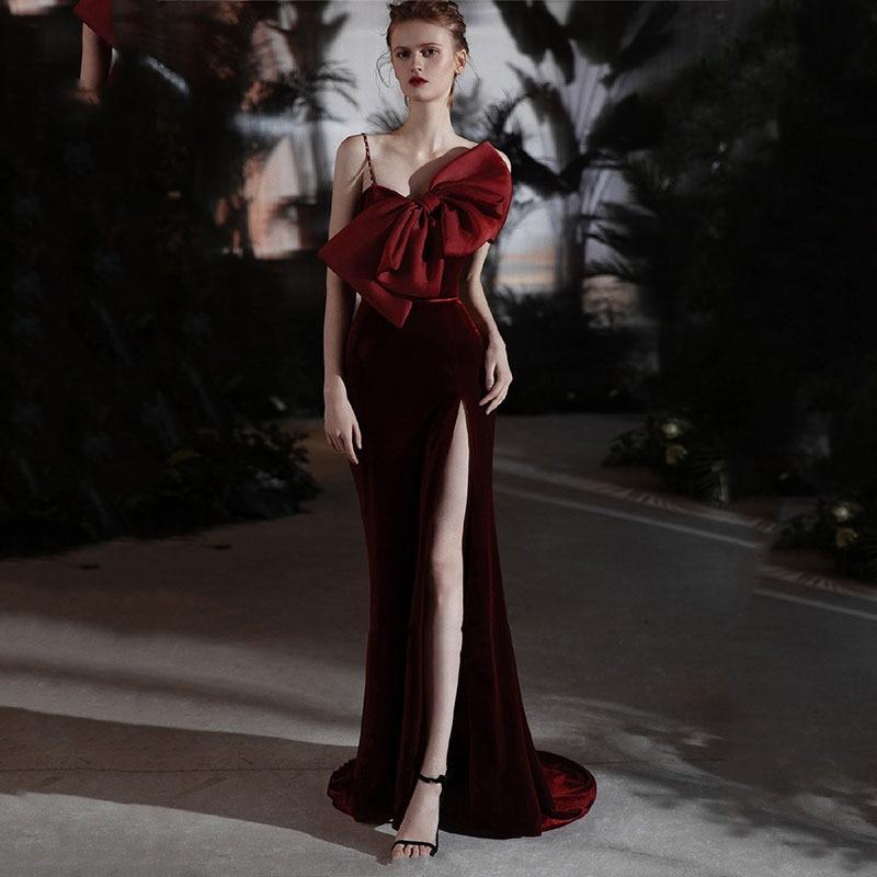 فستان سهرة رسمي ضيق بدون حمالات مع فيونكة كبيرة وحزام سباغيتي ذو فتحة عالية وحورية البحر للحفلات الراقصة فستان حفلات نسائي
