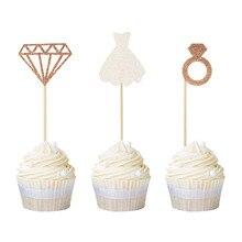 Cakelove-garniture de gâteau en diamant   12 pièces, garniture de gâteau pour mariage, décoration de fête prénatale anniversaire