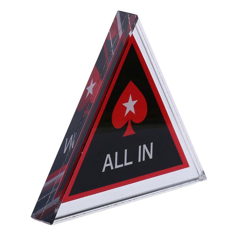 Acryl Texas Holdem Poker Chip ALLE IN Dreieck Poker Card Guard Casino Liefern 77HC