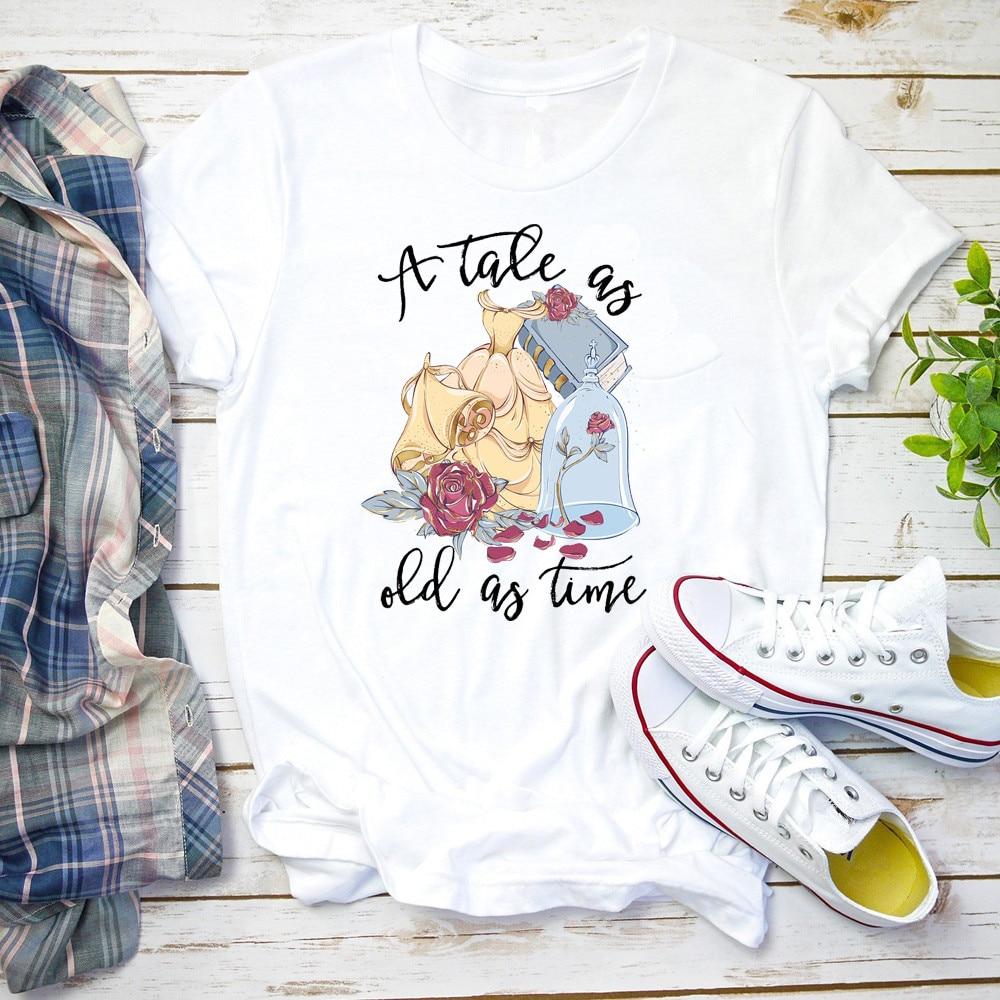 Camiseta de La Bella y La Bestia de cuento As Old As Time, camiseta bonita gráfica, camisetas y camisetas encantadoras de moda para mujer